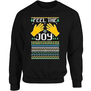 feel the joy of the holidays ugly christmas sweater adult sweatshirt s black - Feel The Joy Christmas Sweater
