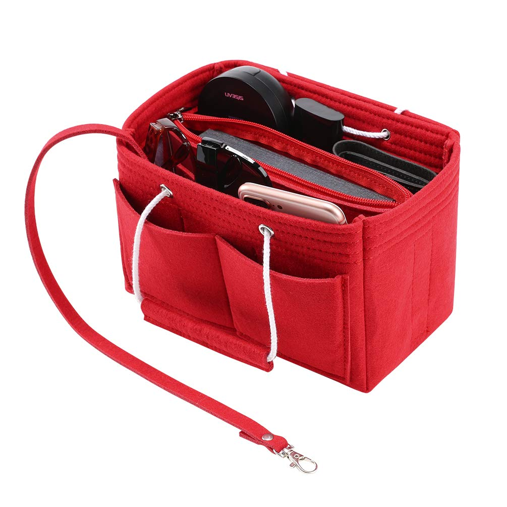 Purse Organizer Bag Women Felt Insert Shaper Handbag Tote with Key Holder and Handle