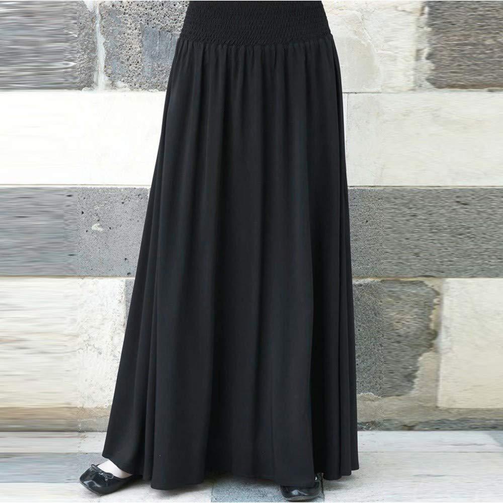 Womens Fashion Elastic Waist Solid Pleated Vintage A-line Loose Long Skirts Black by Cardigo (Image #2)