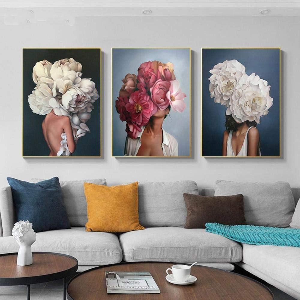 EDGIFT2 Flores Pluma Mujer Pintura Abstracta sobre Lienzo Arte Abstracto de la Pared Impresión del Cartel Imagen Decorativa Moderna Decoración de la Sala 50x70cmx3 (Sin Marco)