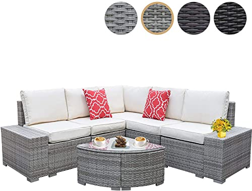 6 Pieces Patio Furniture Conversation Set,Outdoor Sectional