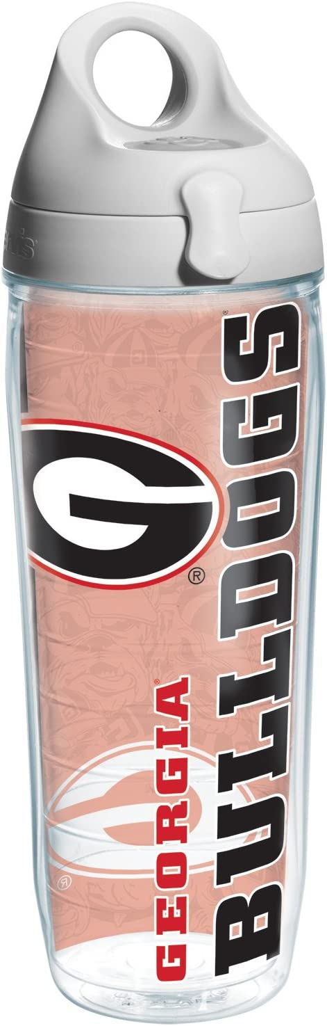 Tervis Georgia University Of College Pride Water Bottle with Grey Lid, 24 oz, Clear