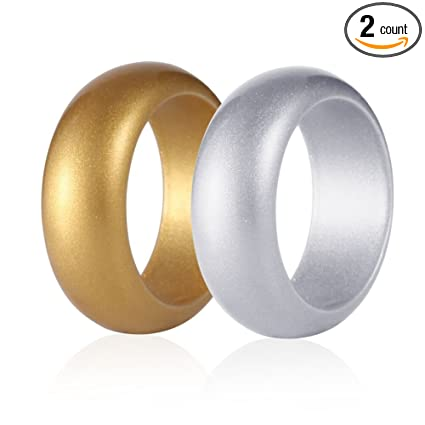 Amazoncom Silicone Wedding Ring Gold Silver Metallic Rubber