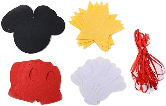 Mickey Mouse Themed Felt Garland Birthday Party Banner Decoration Supplies