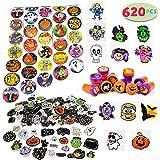 JOYIN Over 600 Pieces Halloween Craft Assortment Kit Including Halloween Temporary Tattoos Halloween Stickers, Halloween Stampers Foam Stickers for Halloween Party Faovrs Halloween Craft Supplies
