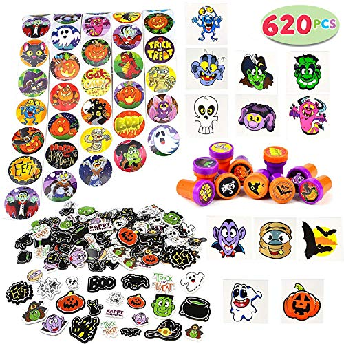 JOYIN Over 600 Pieces Halloween Craft Assortment Kit Including Halloween Temporary Tattoos Halloween Stickers, Halloween Stampers Foam Stickers for Halloween Party Faovrs Halloween Craft Supplies