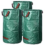 3 Pack 32 Gallons Garden Bags, Reusable Collapsible Gardening Containers Yard Waste Bags for Lawn and Leaf