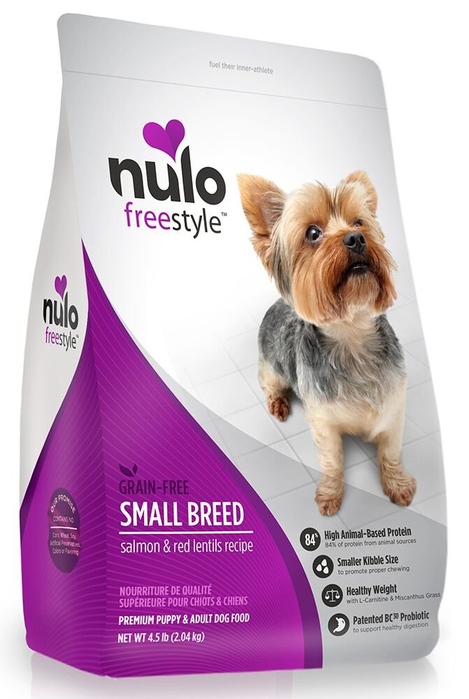 Nulo Small Breed Grain Free Dry Dog Food with BC30 Probiotic, Salmon Red Lentils Recipe – 4.5 or 11 lb Bag