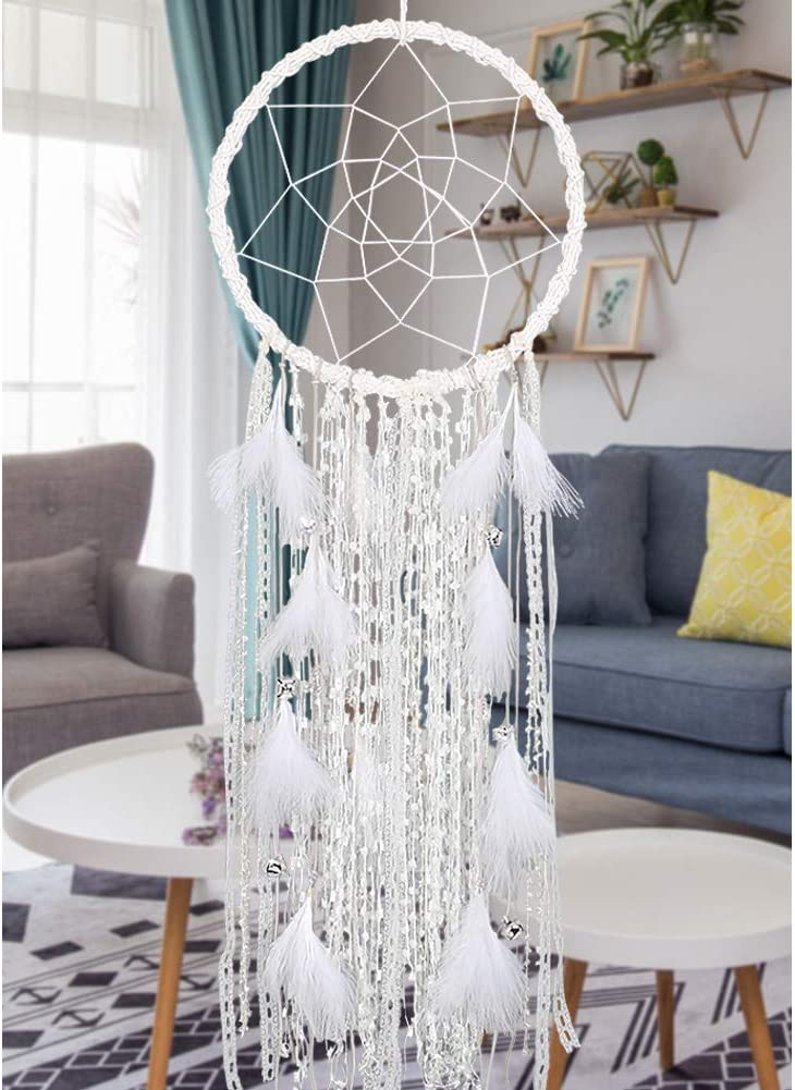 Alynsehom Extra Large Dream Catcher Kids Wall Hanging Decoration Handmade White Feather Boho Big Dreamcatchers with Bells Wedding Dream Catchers Bedroom Craft Ornament Gift (Dia 12