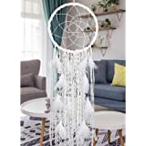 Alynsehom Extra Large Dream Catcher Kids Wall Hanging Decoration Handmade White Feather Boho Big Dreamcatchers with…