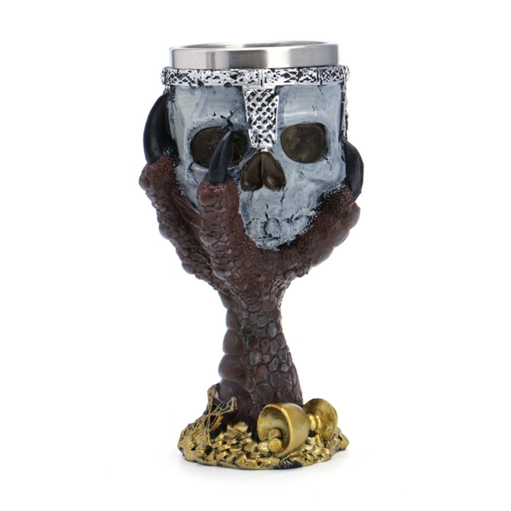 Stainless Steel 3D Skull Cup Wolf Claw Double Wall Drinking Mug Personalized Dragon Bone Metal Wine Goblet Glass Cups Mug (red) UniquQ