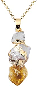 Top Plaza Natural Topaz Crystal Healing Crystal Golden Plated Rodlike Shapeless Pendant Necklace