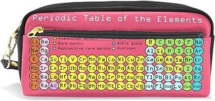 Tabla periódica de elementos, estuche rosa para lápices, estuche con cremallera, para niños, niñas, adolescentes, mujeres, colegio, material de escritura de piel sintética: Amazon.es: Oficina y papelería