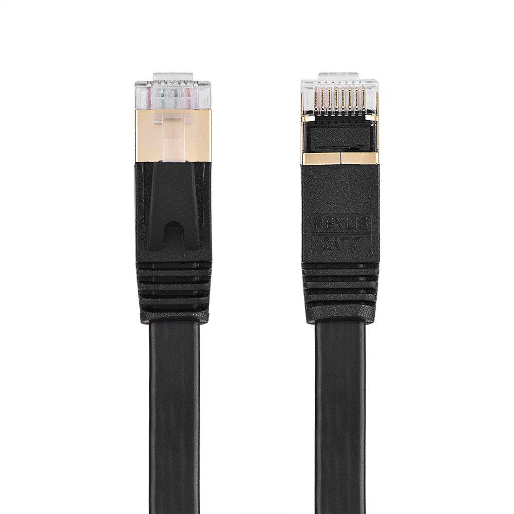 Black Network Cable 1m//1.8m//3m//5m//8m//10m//15m CAT7 RJ45 600MHz Patch Shielded LAN Network Cable Flat Ethernet Cord 15 m Yosoo
