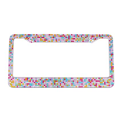 Amazon Dasokao Colorful Rhinestones License Plate Frames For