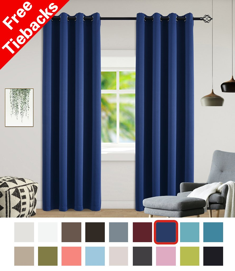 Yakamok Light Blocking Darkening Thermal Insulated Blackout Curtains Solid Grommet Top Window Draperies Drapes
