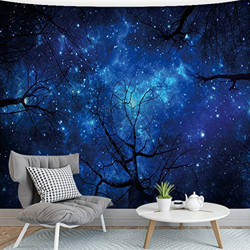 (BJYHIYH Starry Forest Tapestry Wall Hanging Night Sky Tree Tapestries for Bedroom Home Decor(90.6