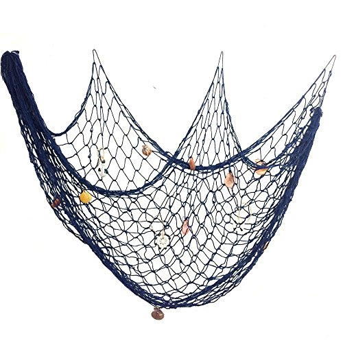 150 x 200cm Decorative Fish Net with Seashells, Cuitan Handmade Fishing Net Hanging for Home Living Room Bedroom Seaside Nautical Ocean Theme Party Bar Wall Decoration Photography Props, Blue Color