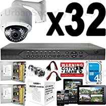 USG 960P 32 Camera Security System CCTV Kit 1x 32 Channel DVR + 32x Sony DSP 2.8-12mm Dome Camera + 2x 18ch Power Supply + 2x 1000ft RG59 Cable + 100x BNC Connector + 70x Power Pigtail + 1x 4TB HDD