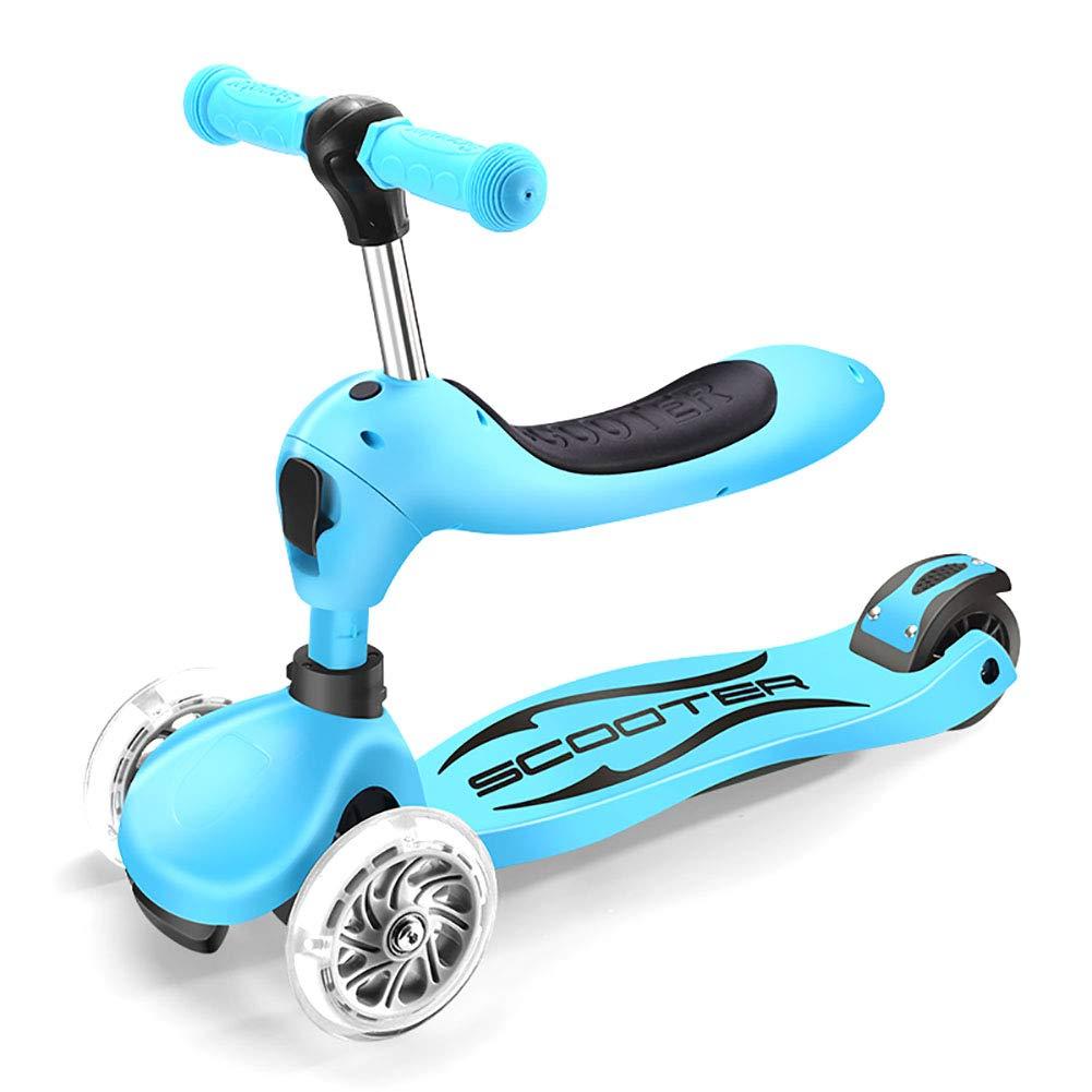 キックボード本体 28歳、PUフラッシングホイール、着座/可変速スクーター、ショックアブソーバ幼児用サーフカー、80kg荷重用の調整可能なキックスクーター (色 : Green) B07L1F956N 青 青