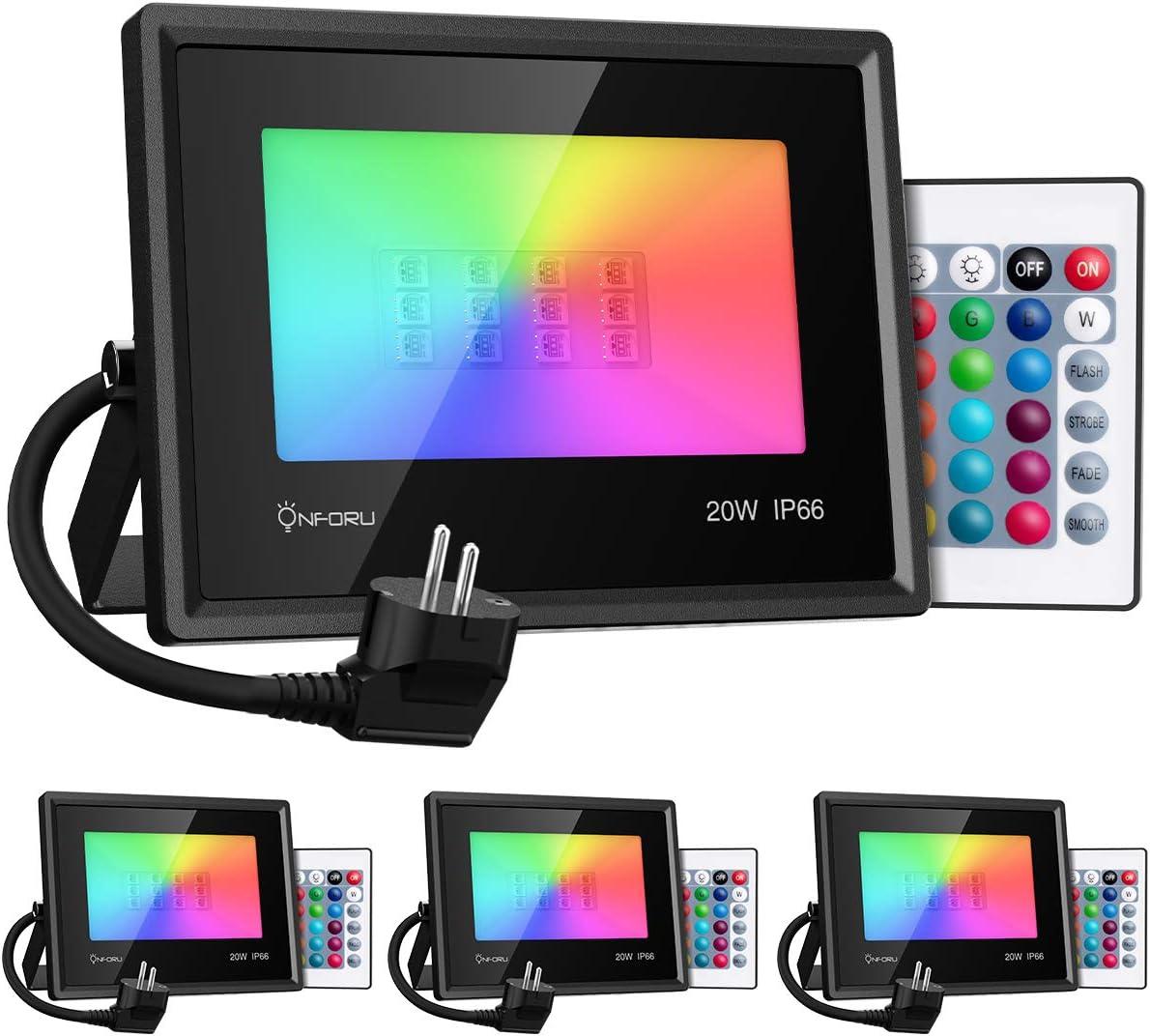 Onforu Foco RGB Led 20w (4 Pack), Foco Colores con Control Remoto, Foco led Interior de 16 Colores Cambiable y 4 Modos, Foco Led Exterior IP66 Impermeable, Función de Memoria para Fiesta Jardín Patio