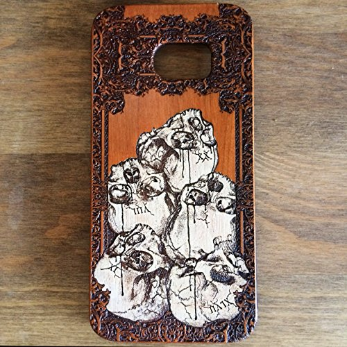 Gothic Dungeon - Samsung Galaxy S7 EDGE Case Hand Painted, The Pile Gothic Design Engraver's Dungeon, Real Natural Wooden Laser Engraved