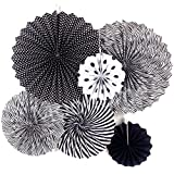 Moohome Black & White Hanging Paper Fans Set,Colorful Round Pattern/Paper Garlands for Party/Wedding/Birthday/Festival/Christmas/Event 6pc/Set