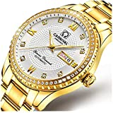 Swiss Made Men Luxury Gold Watches,Automatic Analog Display Calendar Week Luminous Gold Stainless Diamond Watches (All Gold-White)