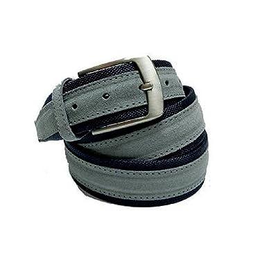 f789616f29d9 INTARSI Cintura uomo tela e camoscio blu e grigio vera Pelle cod   667-BLGR