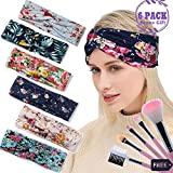 Headbands for Women Teen Girls Boho Yoga Head Wrap Floral Style Elastic Bohemian Criss Cross Knotted Printed Stretchy Hair Bands Gift for her (Floral Style)