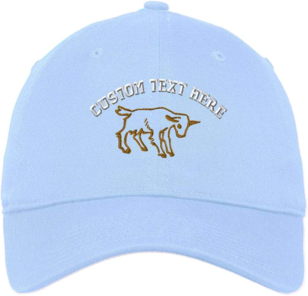 Custom Soft Baseball Cap Goat Outline Embroidery Cotton Dad Hats for Men /& Women
