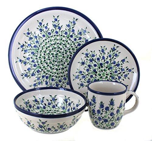 4 Piece Rose Place Setting (Blue Rose Polish Pottery Porcelain Vine 4 Piece Place Setting)