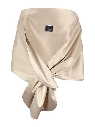 5bb6877f177 Adrianna Papell Womens Satin Pull Through Shawl/Wrap Beige O/S