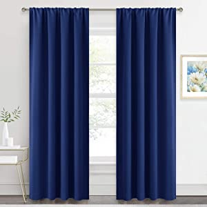 RYB HOME Décor Window Curtains - Thermal Insulated Energy Efficient Block Light for Bedroom Dining Room Living Room Basement, Wide 42 x Long 84 inch, Marine Blue, 2 Panels