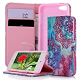 iPod Case iPod Touch 5 Case - MOLLYCOOCLE Stand Wallet Purse Credit Card ID Holders Magnetic Color PU Leather Ultra Slim Fit Flip Folio Cover for iPod Touch 5 5th Generation - Totem Flower