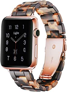 Light Apple Watch Band - Fashion Resin Comfortable iWatch Band Bracelet Compatible with Copper Stainless Steel Buckle for Apple Watch Series SE, Series 6, Series 5, Series 4 Series 3 Series 2 Series1 (Tortoise Stone New, 38mm/40mm)