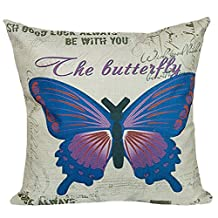 Butterfly Printed Stuffed Cushion LivebyCare Linen Cotton Cover Filling Stuffing Throw Pillow Insert Pattern Zipper For Bed Room Sofa Couch Chair Back Seat