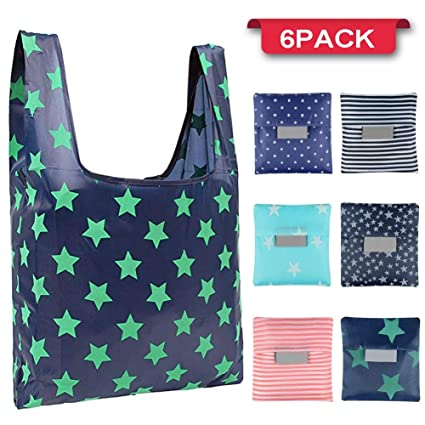 b0beb7b8fe4 Amazon.com  Reusable Grocery Bags(6 Pack) - Waterproof Nylon Folding ...