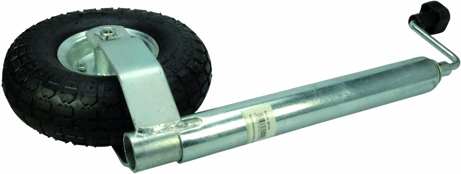 Cartrend 80144 Ruedecilla de apoyo de remolque de caravana y transporte, galvanizado, 48 mm, neumática