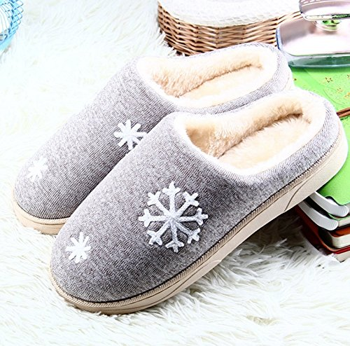 Winzik Women Men Winter Cotton Slippers Cozy Plush Lined Snowflake Pattern Anti-Slip Soles House Indoor Warm Shoes Grey KSjFlTsKo