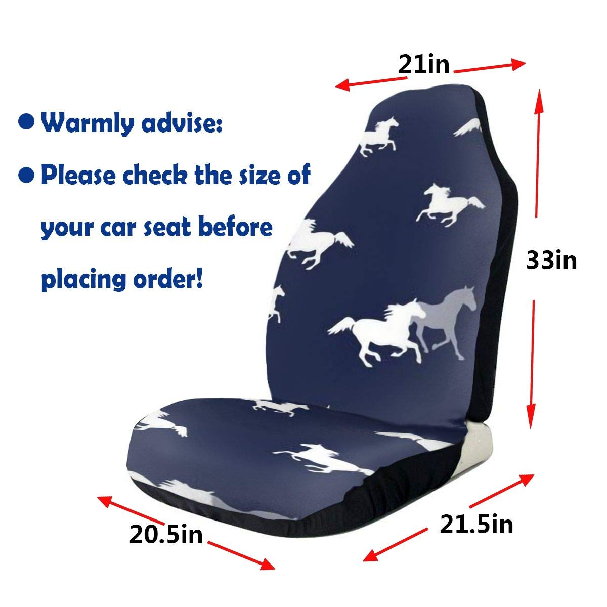 Gioro-CSC Many Pattern Car Seat Cover SUV Truck Wild Horses Vehicle Seat Protector Fit Most Car Or Van