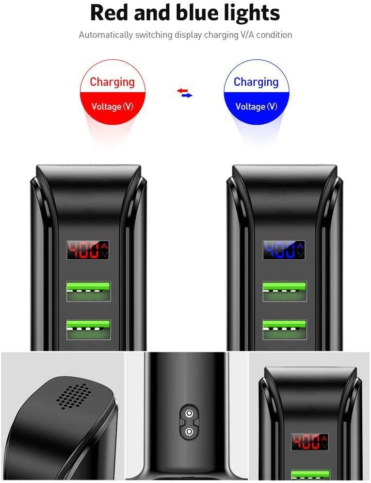 Lationay 5-Port USB Charger Travel Portable Standing Smart Digital Display Chargers Charging Stations