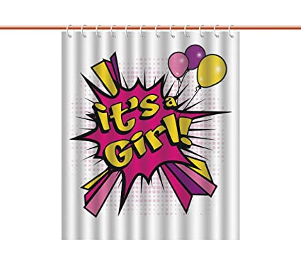 IPrint Eco Friendly Shower Curtain Gender Reveal DecorationsPop Art Style Its A