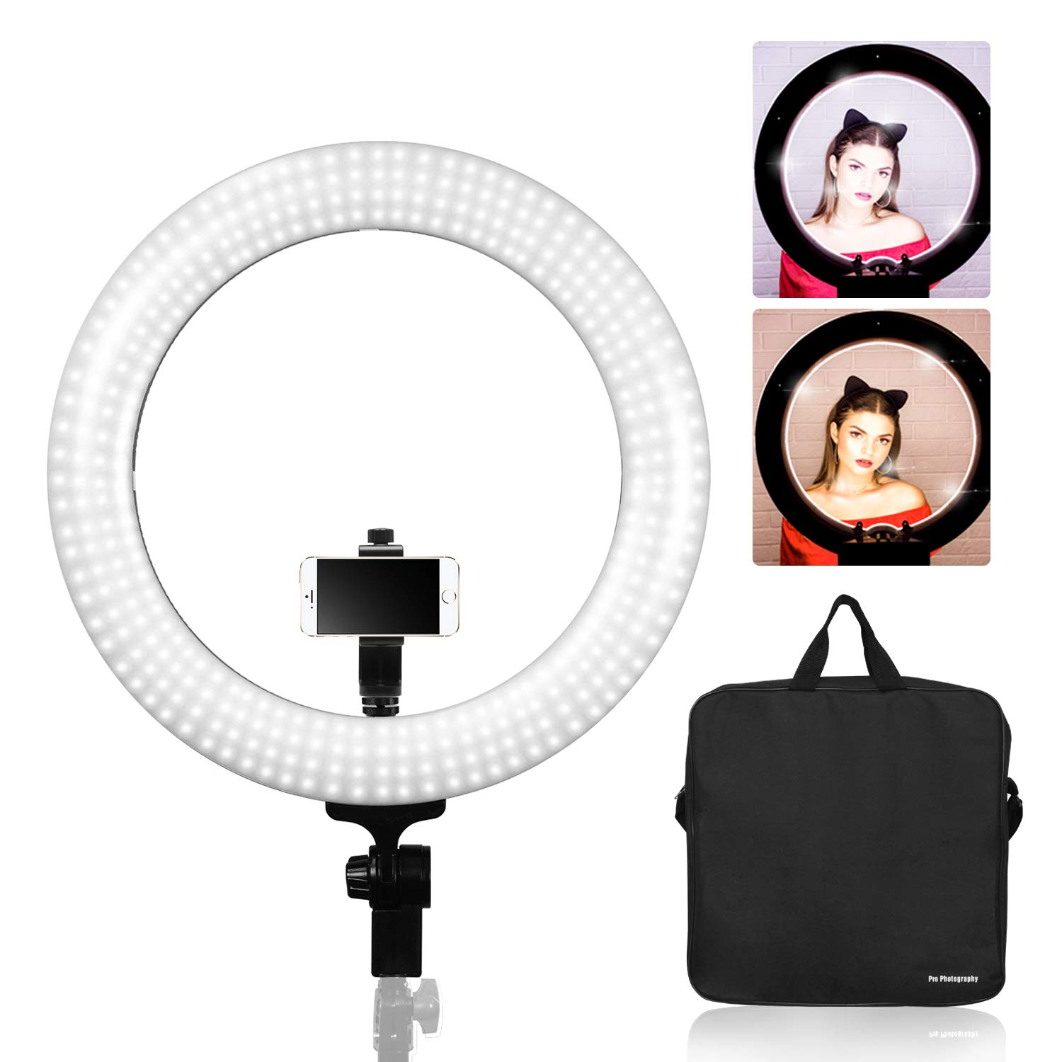 Limo Studio 18 inch Dimmable Ring Light with Cellphone Tripod Adapter, LED Dual Color Continuous Lighting for Beauty Facial Shoot, AGG2848