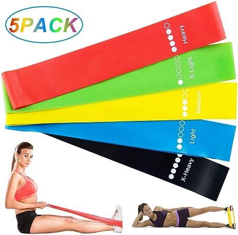 yoga avec sac de transport et instructions pilates Topfit Lot de 5 bandes /élastiques de fitness avec 5 niveaux de r/ésistance diff/érents pour crossfit