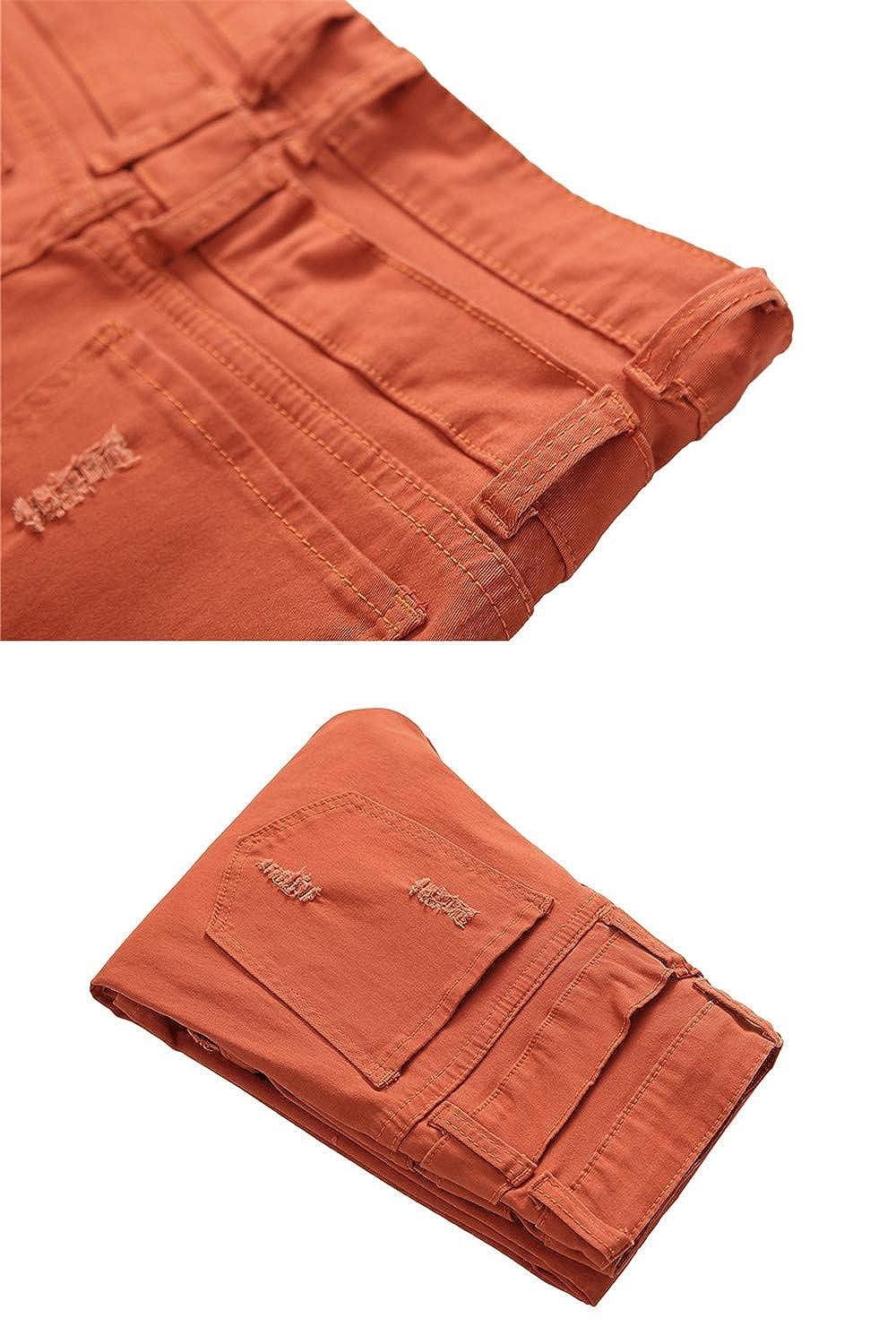 Newnorthstar Clothing Mens Slim Hole Ripped Jeans Denim Pants Men Denim Pants Elastic Jeans Orange
