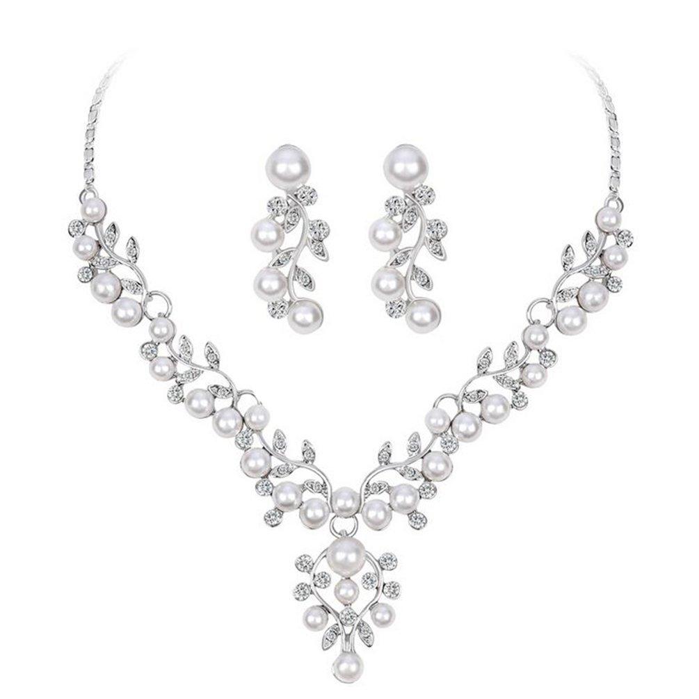 omylady Wedding Jewelry Sets Simulated Pearl Bridal Necklace Sets Elegant Rhinestone Necklace Earring Set (Leaf)