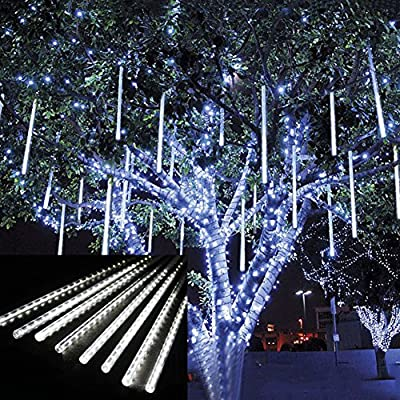 Outdoor Lights,LED E26/E27 Meteor Shower Rain Lights,Waterproof Garden Lights Snow Falling Raindrop Cascading light for Holiday Wedding Home Xmas Tree Decor 8 Pack
