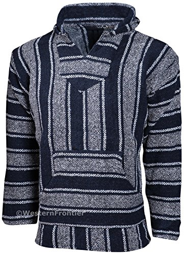 Genuine Mexican Baja Hoodie Pullover Poncho (X-Large, Dark Gray and Navy)