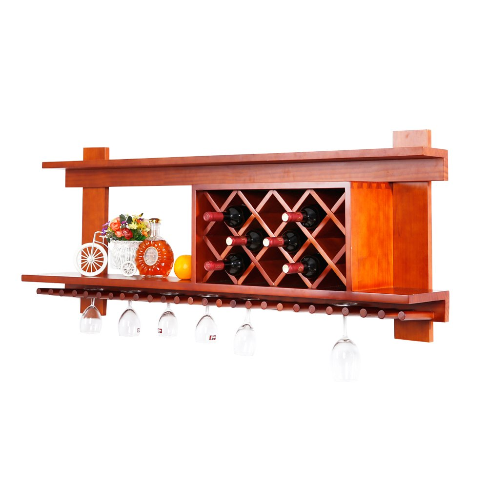 MallBoo Wall Mounted Wine Rack /Cabinet Pine Wood Wine Shelf with Glass Holders and Bottle Grids for Wall Decor/Art, 55-inch, Walnut by MallBoo